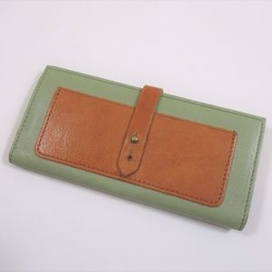Madewell Long Leather Post Wallet Mint Green Tan